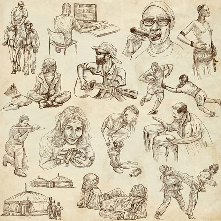cigar smoking woman: People around the World (pack no. 12) - Collection of an hand drawn illustrations. Description: Full sized hand drawn illustrations drawing on old paper.