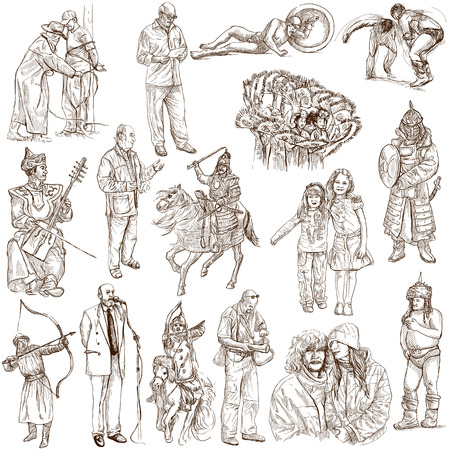 People around the World (pack no. 13) - Collection of an hand drawn illustrations. Description: Full sized hand drawn illustrations drawing on white background. illustration