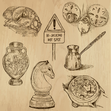 Objects (vector pack no.1). Collection of an hand drawn illustrations (originals). Each drawing comprises of two layers of outlines, the colored background is isolated.