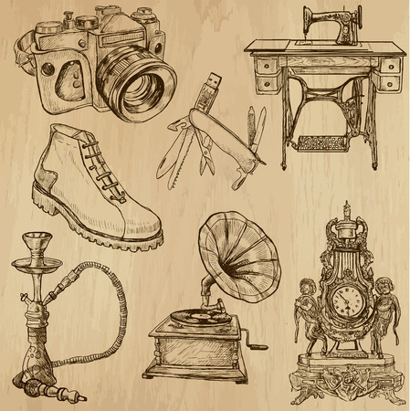 Objects (vector pack no.2). Collection of an hand drawn illustrations (originals). Each drawing comprises of two layers of outlines, the colored background is isolated.