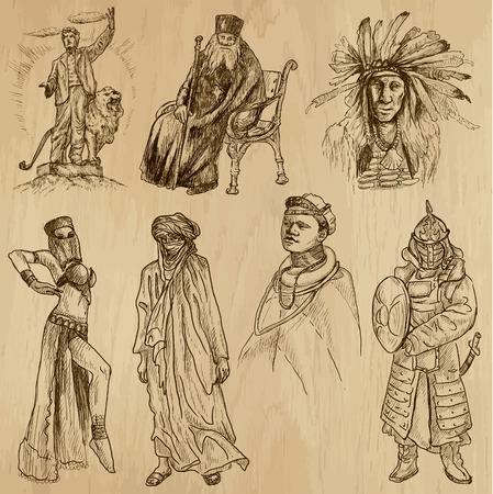 People and Natives around the World (vector pack no.19). Collection of an hand drawn illustrations (originals). Each drawing comprises of two layers of outlines, the colored background is isolated. Vector