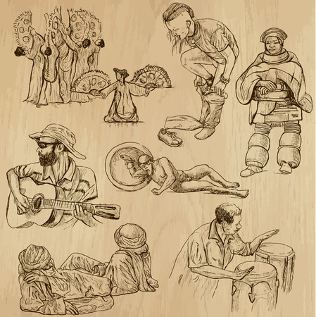 People and Natives around the World (vector pack no.27). Collection of an hand drawn illustrations (originals). Each drawing comprises of two layers of outlines, the colored background is isolated. Vector