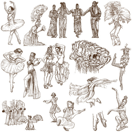 showbusiness: From series: DANCING (set no.2) - Collection of an hand drawn illustrations. Description: Full sized hand drawn illustrations drawing on white background.