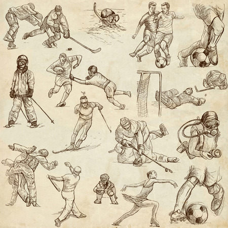 From series: SPORT (set no. 5) - Collection of an hand drawn illustrations. Description: Full sized hand drawn illustrations drawing on old paper.