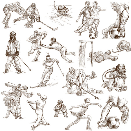 From series: SPORT (set no. 5) - Collection of an hand drawn illustrations. Description: Full sized hand drawn illustrations drawing on white background.