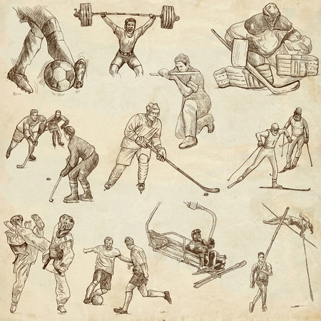 From series: SPORT (set no. 6) - Collection of an hand drawn illustrations. Description: Full sized hand drawn illustrations drawing on old paper.