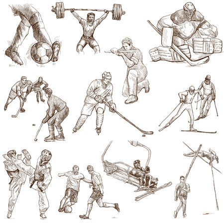 From series: SPORT (set no. 6) - Collection of an hand drawn illustrations. Description: Full sized hand drawn illustrations drawing on white.