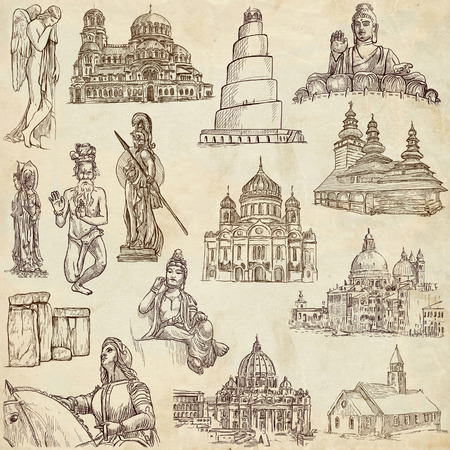 sized: From series: Religion and Spiritual Life around the World (set no. 1). Collection of an hand drawn illustrations. Description: Full sized hand drawn illustrations drawing on old paper.