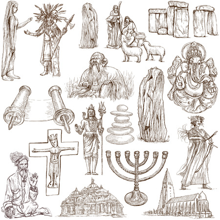From series: Religion and Spiritual Life around the World (set no.5). Collection of an hand drawn illustrations. Description: Full sized hand drawn illustrations drawing on white. Stock Photo