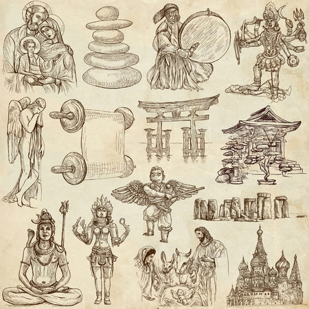 From series: Religion and Spiritual Life around the World (set no.6). Collection of an hand drawn illustrations. Description: Full sized hand drawn illustrations drawing on old paper. illustration