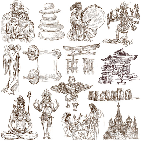 From series: Religion and Spiritual Life around the World (set no.6). Collection of an hand drawn illustrations. Description: Full sized hand drawn illustrations drawing on white.