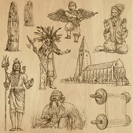 Collection of an hand drawn illustrations (originals). Each drawing comprises of two layers of outlines, the colored background is isolated.