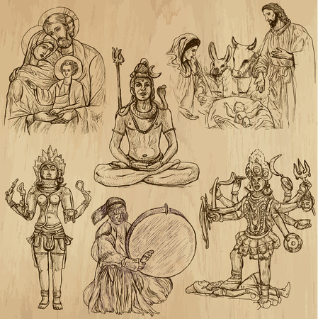 kali:  Collection of an hand drawn illustrations (originals). Each drawing comprises of two layers of outlines, the colored background is isolated.