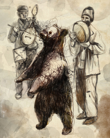 gypsy: Digital Painting: Dancing bear and group of gypsy musicians