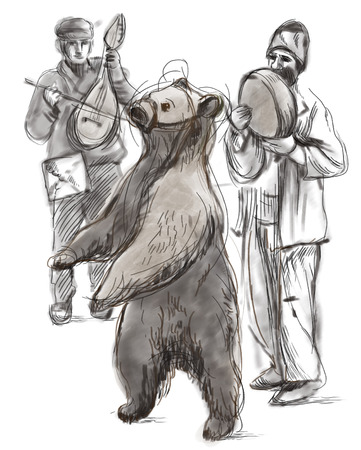 Digital Painting: Dancing bear and group of gypsy musicians photo
