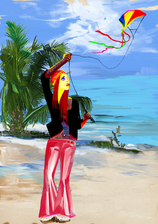 Digital painting: Flying a kite at summer tropical beach Stock Photo