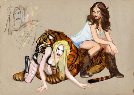 Two women irritating tiger  digital painting   photo