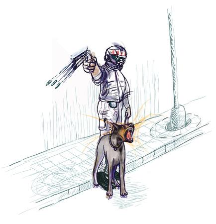 patrolman: Tough Policeman and dog.