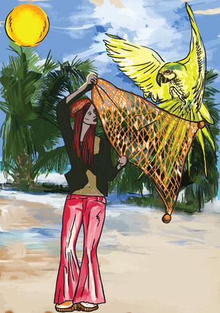 Huntress Parrots (Hippie Woman on the Beach).  Illustration