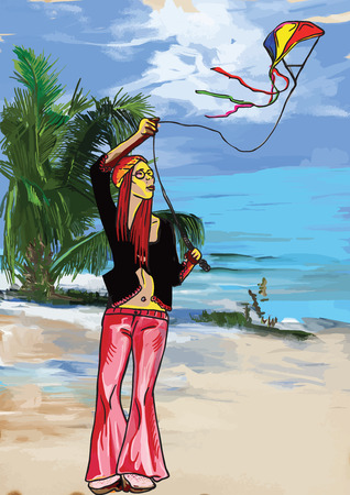 mujer hippie: Cometa (Hippie Mujer en la playa).