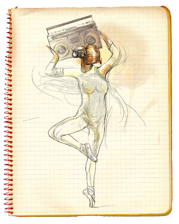 beauty pageant: Posing as a statue  An woman holding above her head tape recorder  Hand drawn full sized illustration