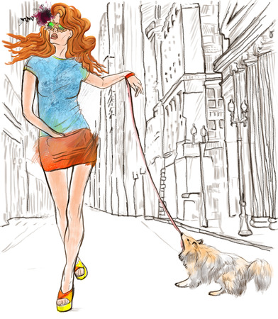 mini skirt: Superstar  An woman through the street  after party   Hand drawn illustration  full sized