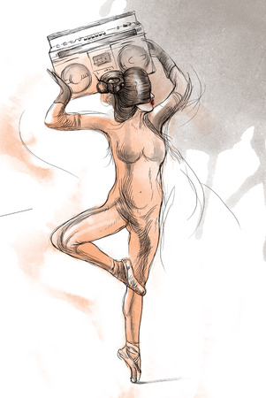 Posing as a statue  An woman holding above her head tape recorder  Hand drawn full sized illustration