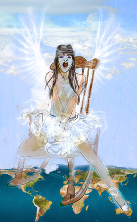 heaven on earth: Angel  between Heaven and Earth  Full sized hand drawn illustration