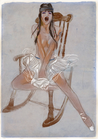 supermodel: Excitement Young woman in a rocking chair  Full sized hand drawn illustration  Stock Photo