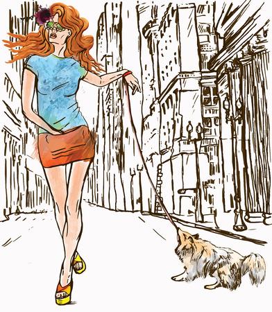 superstar: Superstar. An woman through the street (after party).