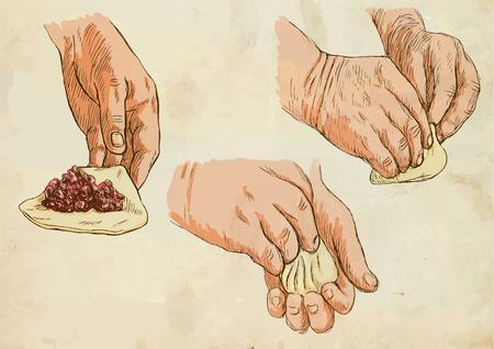 no1: Prepare Pasta (colored pack no.1).  Illustration