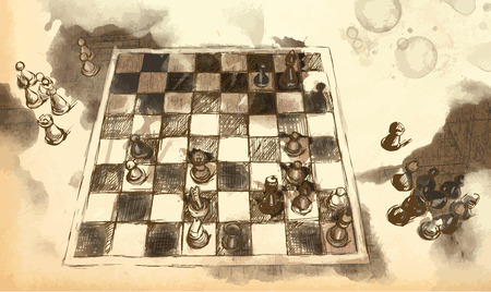 fine arts: An hand drawn picture from series: The Worlds Great Chess Games. Karpov - Kasparov. Game 16 - position after 40. Illustration