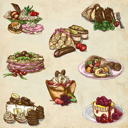 sweetness: An hand drawn full sized illustraton from the series Food around the World: Sweetness, Candies, Cakes Stock Photo