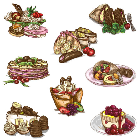 An hand drawn full sized illustraton from the series Food around the World: Sweetness, Candies, Cakes Reklamní fotografie