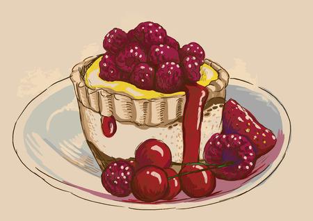 fine cuisine: Illustrazione in stile vintage di un argomento caramelle e dolci. Descrizione: modificabile in quattro strati, due strati di linee e sfondi colorati. Vettoriali