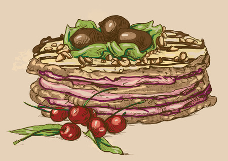 Illustration in vintage style of a Candy and Sweets topic. Description: Editable in four layers, two layers of lines and colored backgrounds. Vector