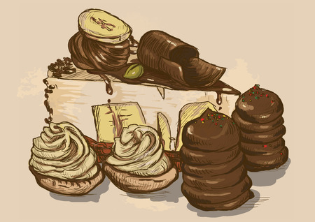 fine cuisine: Illustration in vintage style of a Candy and Sweets topic. Description: Editable in four layers, two layers of lines and colored backgrounds. Illustration