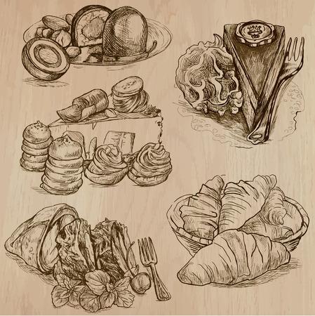 sweetmeats: Dulces y Caramelos de todo el mundo (Vector paquete no.2). Colecci�n de una mano dibuja ilustraciones (originales). Cada dibujo se compone de dos capas de l�neas, el fondo se separa.