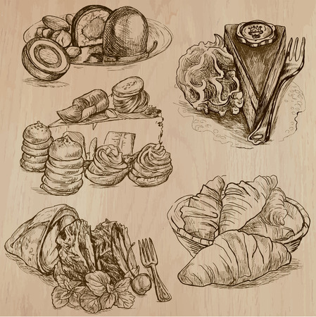 Sweets and Candies around the World (Vector pack no.2). Collection of an hand drawn illustrations (originals). Each drawing comprises of two layers of lines, the background is separated.