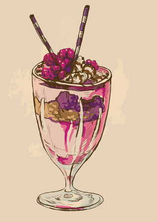 Illustration in vintage style of a Candy and Sweets topic. Description: Editable in four layers, two layers of lines and colored backgrounds. Ilustrace