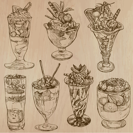 Sweets and Candies around the World (Vector pack no.3). Collection of an hand drawn illustrations (originals). Each drawing comprises of two layers of lines, the background is separated.