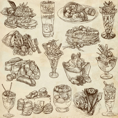 sweetshop: An hand drawn full sized illustratons from the series Food around the World: Sweetness, Candies, Cakes