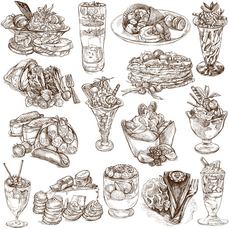 sized: An hand drawn full sized illustratons from the series Food around the World: Sweetness, Candies, Cakes
