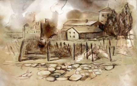 fine arts: An hand drawn and colored full sized illustration: Vintage picture, Somewhere in France (French countryside and small vineyards) Stock Photo
