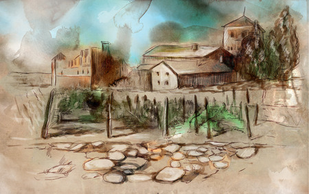 french countryside: An hand drawn and colored full sized illustration: Vintage picture, Somewhere in France (French countryside and small vineyards) Stock Photo