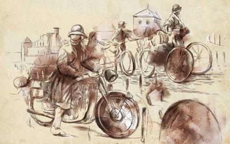 gloriole: Imagen del vintage de la serie: World entre 1905-1949. Soldados en bicicleta y un soldado en una motocicleta (frente militar en el pa�s). Una ilustraci�n dibujados a mano de tama�o completo.
