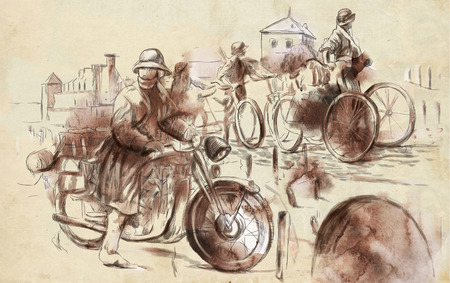 Vintage picture from the series: World between 1905-1949. Soldiers on bicycle and a soldier on a motorcycle (military front in the country). An hand drawn full sized illustration. illustration
