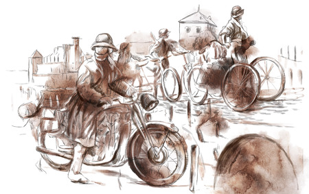 spunk: Vintage picture from the series: World between 1905-1949. Soldiers on bicycle and a soldier on a motorcycle (military front in the country). An hand drawn full sized illustration. Stock Photo