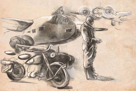 struggle: Vintage picture from the series: World between 1905-1949. At the airport - a soldier on a motorcycle between aircraft. An hand drawn full sized illustration.