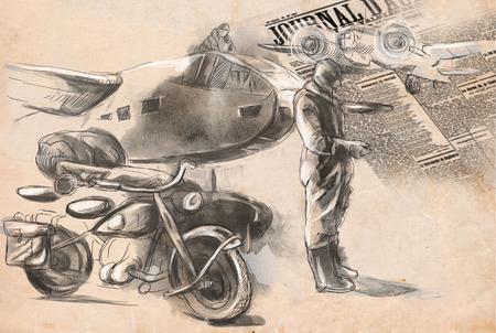 gloriole: Imagen del vintage de la serie: World entre 1905-1949. En el aeropuerto - un soldado en una motocicleta entre aeronaves. Una ilustraci�n dibujados a mano de tama�o completo.